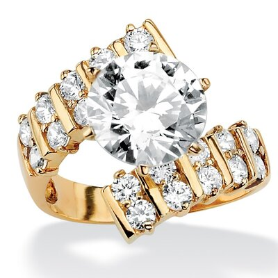 Palm Beach Jewelry Goldtone Round Cubic Zirconia Bypass Ring