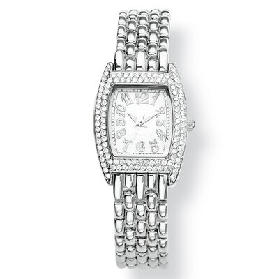 Palm Beach Jewelry Silvertone Crystal Bezel Bracelet Watch
