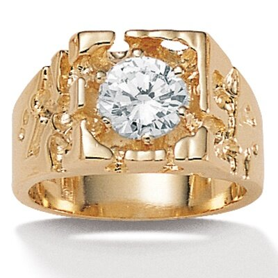 Gold Plated Men's Cubic Zirconia Ring