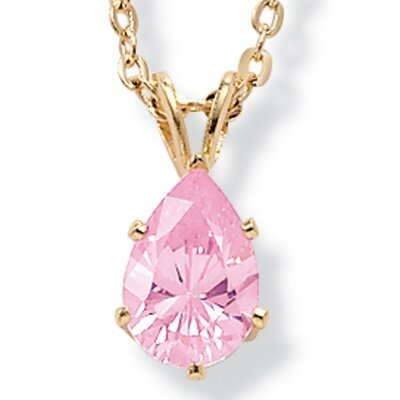 Gold Plated Pink Ice Cubic Zirconia Pendant
