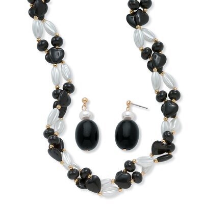 Palm Beach Jewelry Goldtone Black and White Lucite Beaded Set