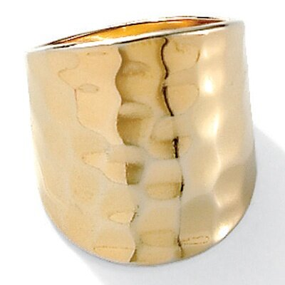18K Sterling Silver Hammered - Style Ring