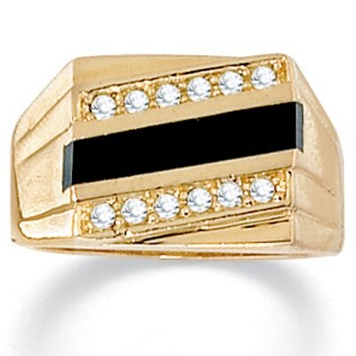 Palm Beach Jewelry Men's Onyx and Crystal Ring