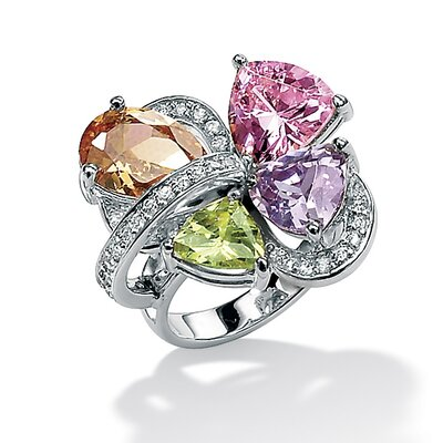 Multi Color Cubic Zirconia Sterling Silver Ring