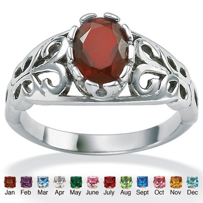 Palm Beach Jewelry Antiqued Silver Birthstone Ring