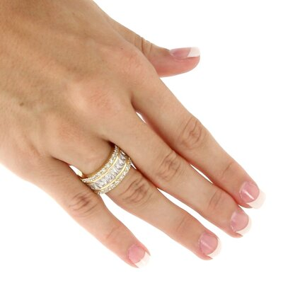 Palm Beach Jewelry Cubic Zirconia 18K / Sterling Silver Eternity Band