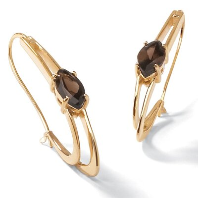 Smoky Quartz Oblong Hoop Earringss
