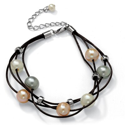 Palm Beach Jewelry Pearl Multi-Strand Leather Bracelet