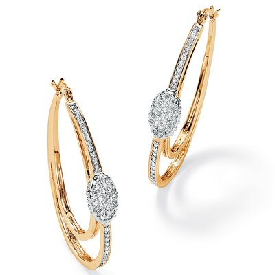 Palm Beach Jewelry Cubic Zirconia Oval Hoop Earrings