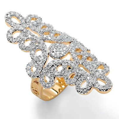 Cubic Zirconia Elongated Swirl Ring