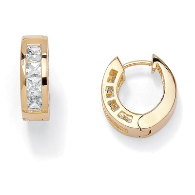 Palm Beach Jewelry Cubic Zirconia Huggie Hoop Pierced Earrings