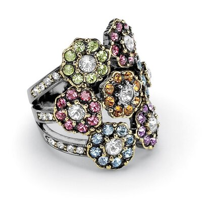 Palm Beach Jewelry Multi-Colored Crystal Flower Ring