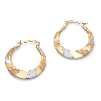 Palm Beach Jewelry Tritone Hoop Pierced Earrings