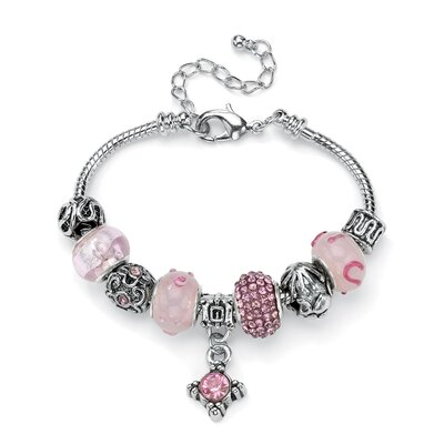 Palm Beach Jewelry Crystal Bali-Style Charm Bracelet