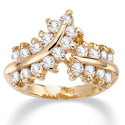 14K Gold Plated Round Cubic Zirconia Ring