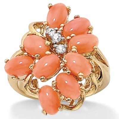 Sterling Silver Oval Coral and Cubic Zirconia 18k/SS Cluster Ring