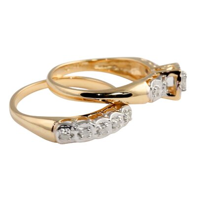 Palm Beach Jewelry 10k Gold Full Diamond Wedding Set