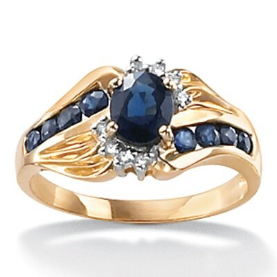 10k Gold Oval Diamond and Sapphire Ring