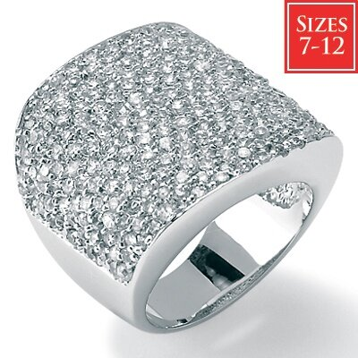 Palm Beach Jewelry Sterling Silver Round Cubic Zirconia Platinum Pave Ring