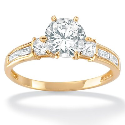 10k Gold Round Cubic Zirconia Ring