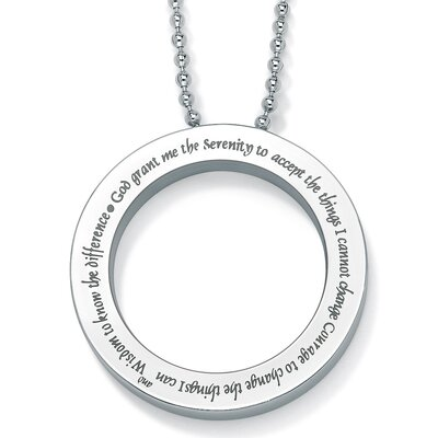 Palm Beach Jewelry Round Serenity Prayer Pendant