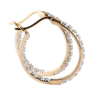 Palm Beach Jewelry 18k Round Diamond Hoop Earrings