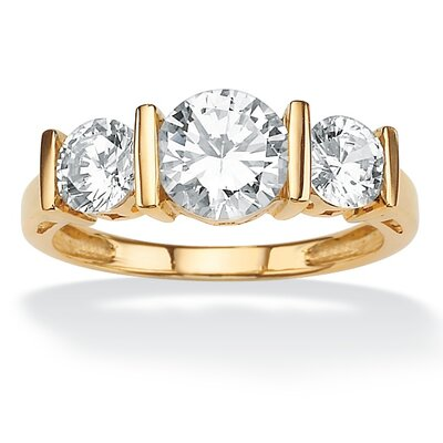 10k Gold Round Cubic Zirconia Channel-Set Ring