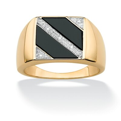 18k Gold over Sterling Silver Men's Onyx and Diamond Accent Ring