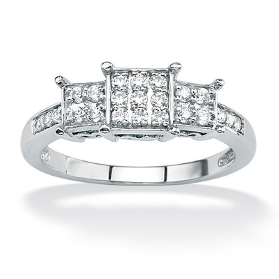 10k White Gold Diamond Square Cluster Ring