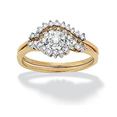 10k Gold Round Diamond Cluster Wedding Ring Set