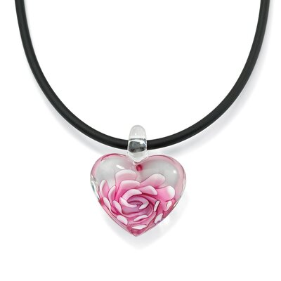 Sterling Silver Pink Glass Heart-Shaped Pendant