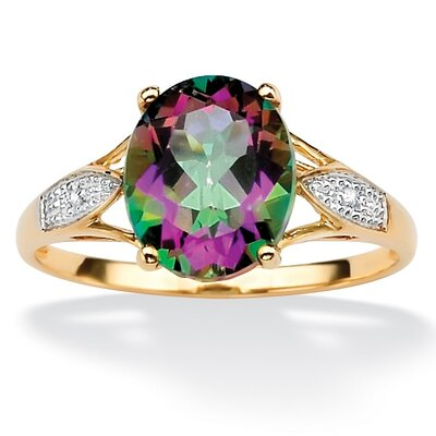 Palm Beach Jewelry Gold Oval Mystic Topaz/Diamond Accent Ring