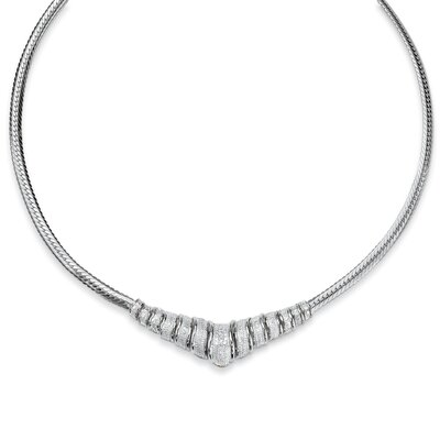 Palm Beach Jewelry Silver Round Diamond Chevron Necklace