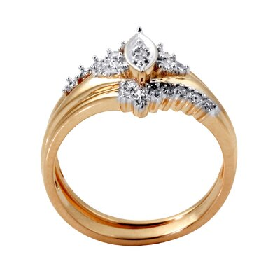 Palm Beach Jewelry Gold Round Two Piece Diamond Wedding Set