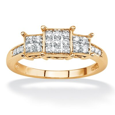 Gold Round Diamond Square Shaped Ring
