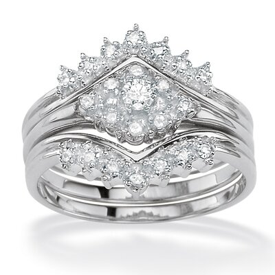 Silver Round Diamond Wedding Ring Set