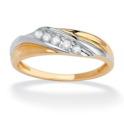 10k Gold Round Cubic Zirconia Diagonal Wedding Band Ring