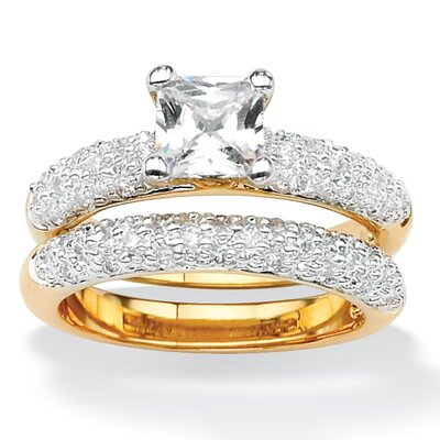 Brass Princess and Round Cubic Zirconia Wedding Ring Set