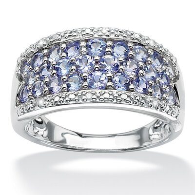 Palm Beach Jewelry Sterling Silver Round Tanzanite and Diamond Accent Ring