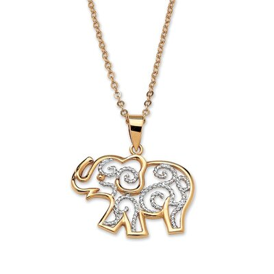 Palm Beach Jewelry Filigree Elephant Pendant and Chain