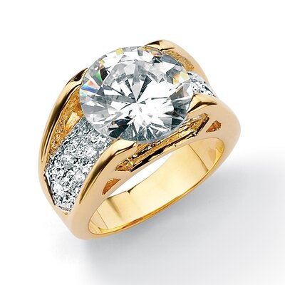 Brass Round Cubic Zirconia Ring