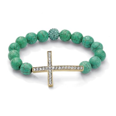 Palm Beach Jewelry Horizontal Cross Jade Bracelet