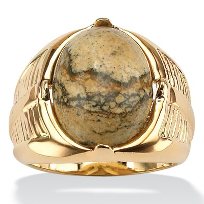 Palm Beach Jewelry Men's Gold Oval Jasper Ring