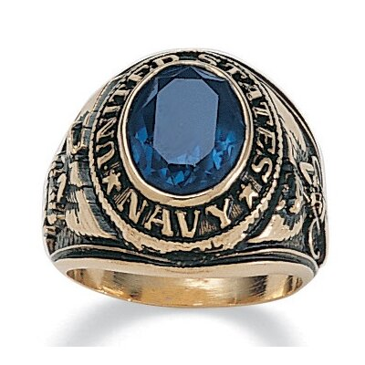 Palm Beach Jewelry Men's 14K Gold Plated Oval Crystal Navy Ring