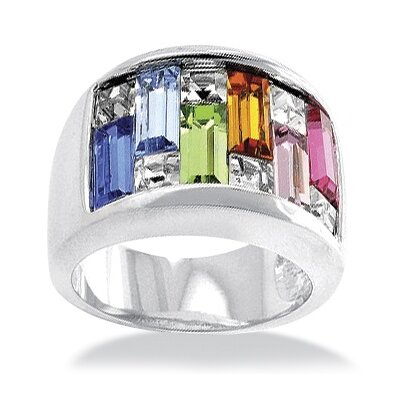 Palm Beach Jewelry Silvertone Princess and Square Crystal Ring