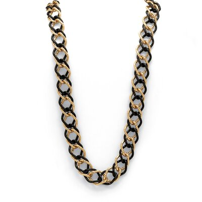 Black and Goldtone Curb Link Necklace