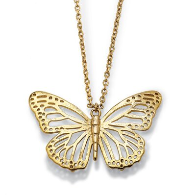Palm Beach Jewelry Butterfly Cutout Pendant and Chain