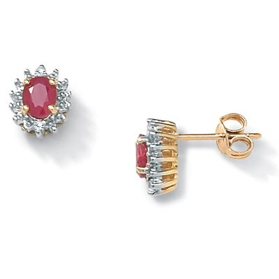 Oval Cut Ruby Stud Earrings