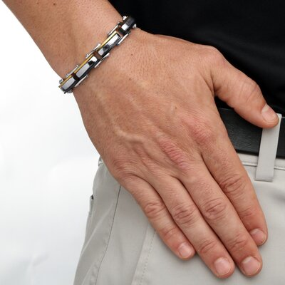 Palm Beach Jewelry Men's Bolt-Link Bracelet