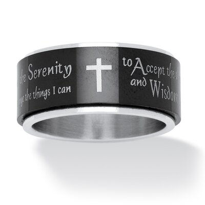 Men's Black Ion-Plated Serenity Prayer Cross Band Ring